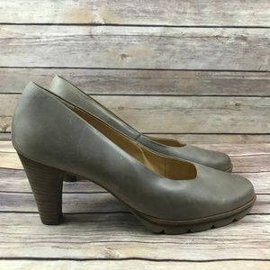 Paul Green Gray Round Toe Leather High Heels